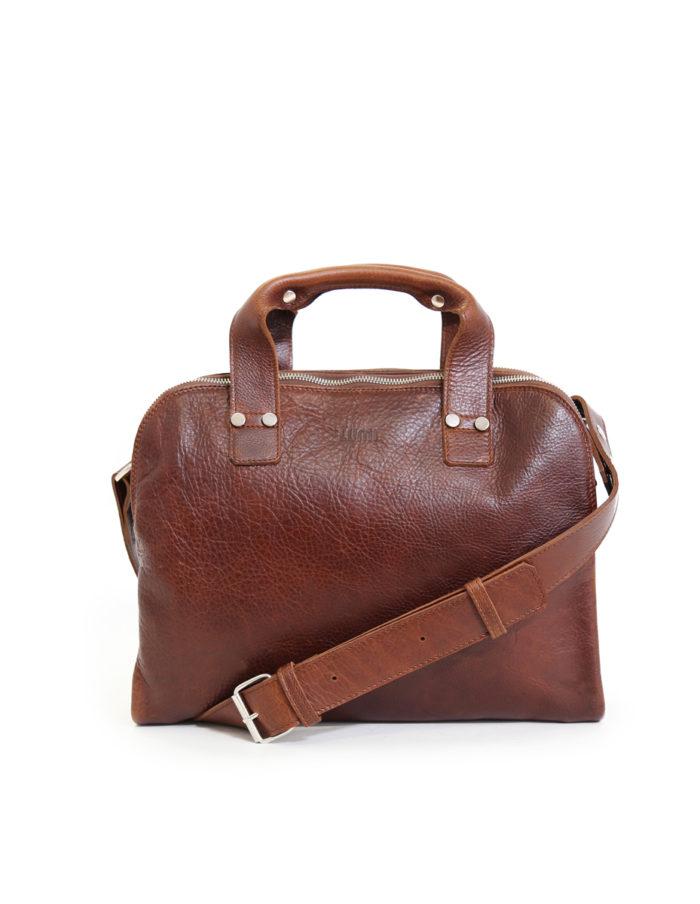 LUMI Johan Small Business Bag, in beautiful brown toffee