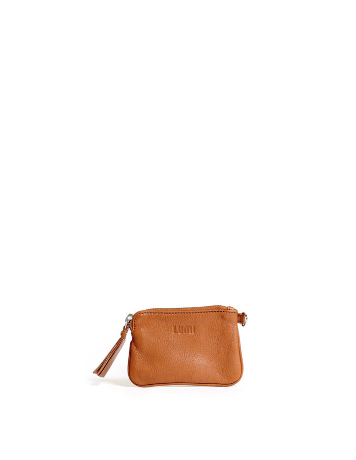 LUMI Anna Wallet, in cognac, carries your tiny necessities and other daily essentials.
