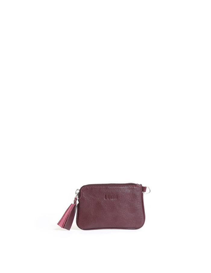 LUMI Anna Wallet, in wine, carries your tiny necessities and other daily essentials.