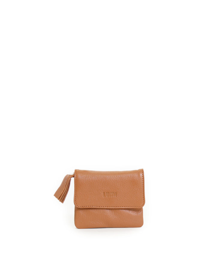 LUMI Emma Wallet, in cognac, carries your tiny necessities beautifully.