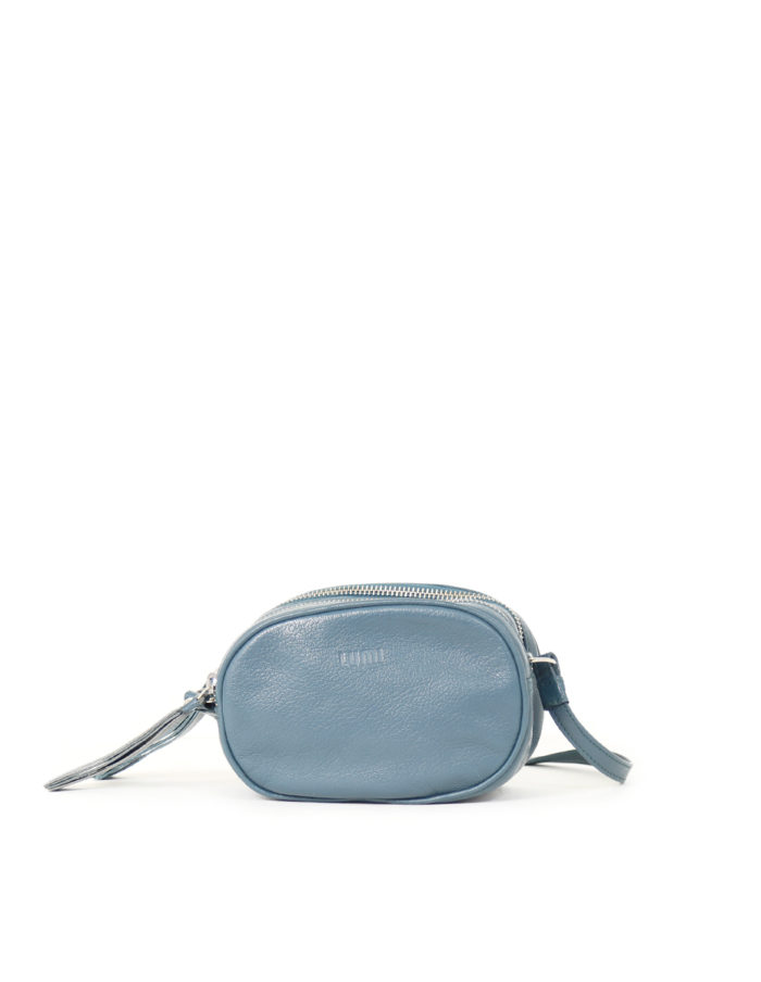 LUMI Jasmin Oval Bag, in petrol, is made of vegetable tanned goat leather. Chemical free dyeing.