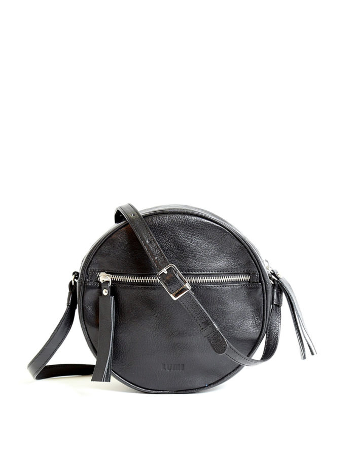 LUMI Lila Round Bag, in black, is made of vegetable tanned goat leather.