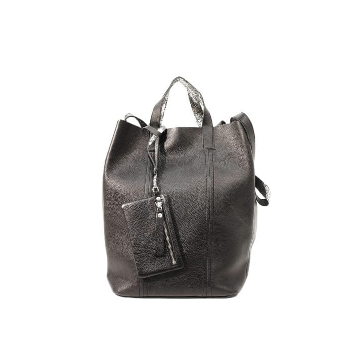 LUMI Linda Large Tote Floater, in black/silver.