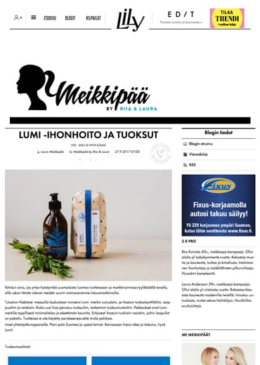 New LUMI Scent + Skincare featured on Meikkipää lifestyle blog