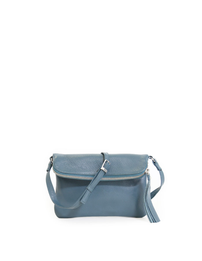 LUMI Stella Pouch Bag, in petrol, is made of vegetable tanned goat leather. Chemical free dyeing