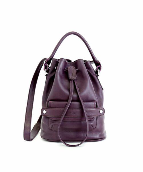 LUMI Katariina Large Bucket Bag in beautiful rich grape colour.
