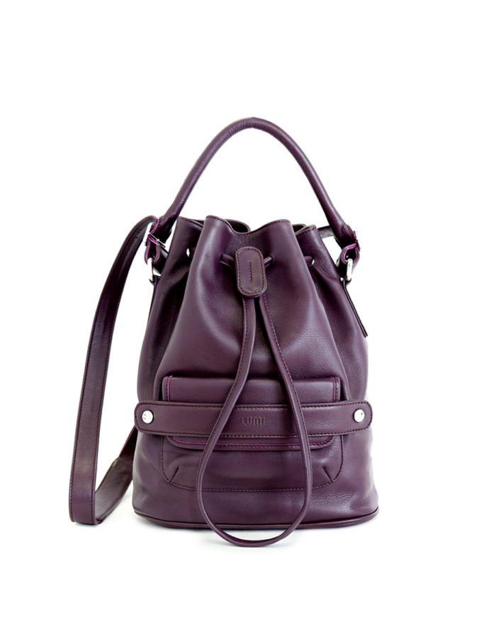 LUMI Katariina Large Bucket Bag in beautiful rich grape colour.
