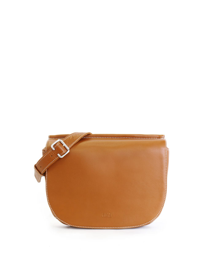 LUMI Laila Flat Cross Body Bag in beautiful rich toffee brown. Laila is made of eco-friendly vegetable tanned leather.