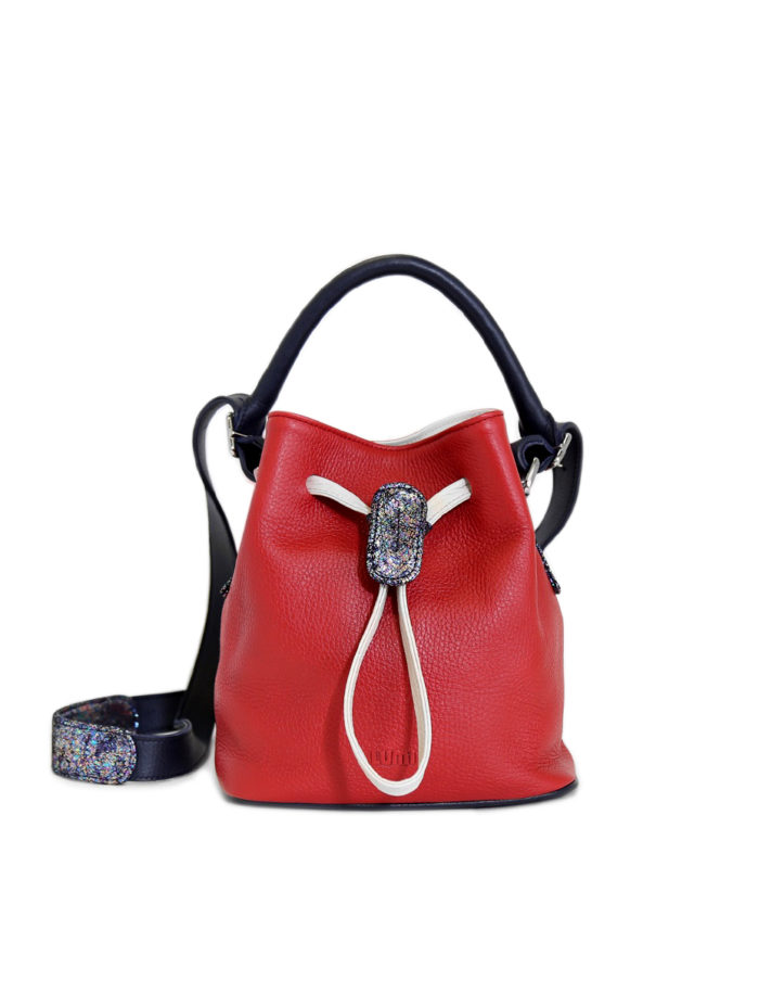 Klara Small Bucket Bag is from LUMI Limited Edition – a specialty line of bags and purses made of soft, luxurious leather, featuring hand-crafted detailing and bold, custom-made hardware.