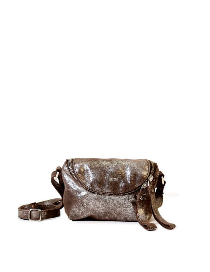 LUMI Rosita Microbag, in brown shine. Rosita Microbag makes a cute little bag to safe-keep your little daily essentials in style.