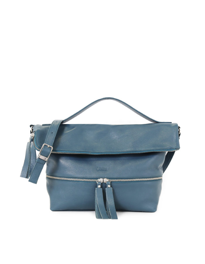 LUMI Lyydia Shoulder Bag, in petrol, is made of vegetable tanned goat leather. Chemical free dyeing.