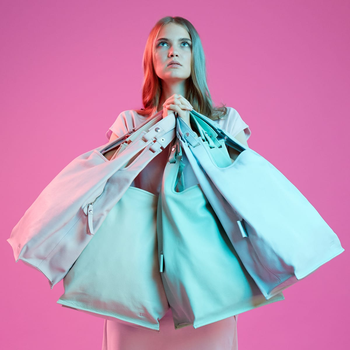 Supermarket Bag Light in fresh pastel colours.
