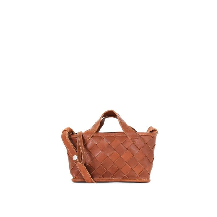 LUMI Annikki Woven Small Tote in beautiful cognac