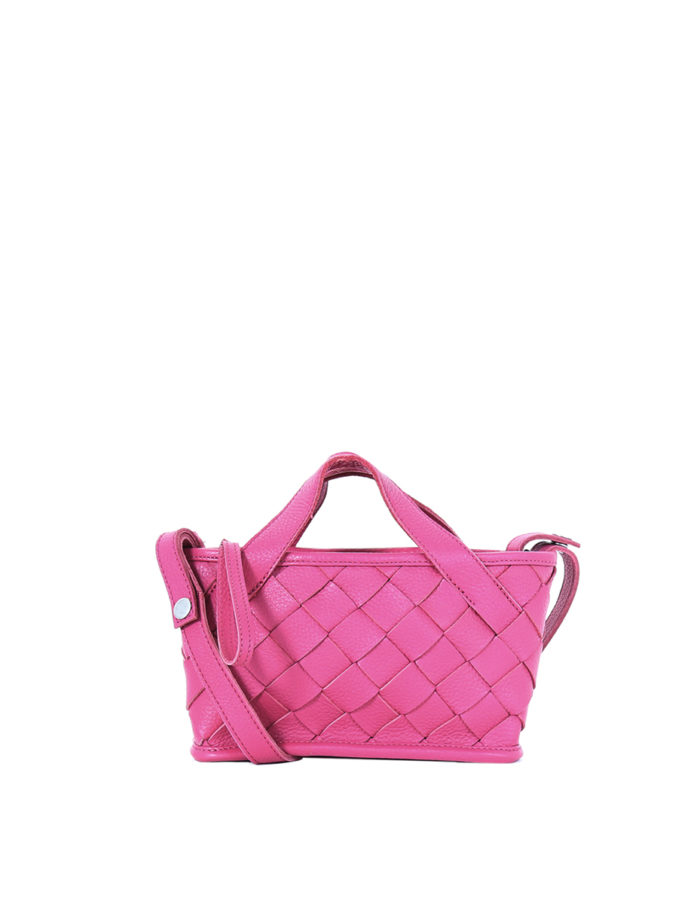 LUMI Annikki Woven Small Tote in bright raspberry