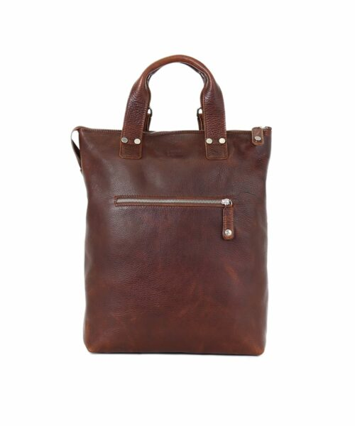 LUMI Daniel Tote Backpack in toffee. Wear it on your back or use it as a tote bag, this roomy bag is great for all your urban adventures. It fits a 15