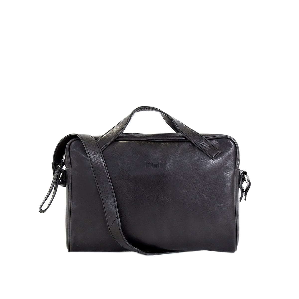 LUMI Hilma Solid Laptop Bag in classic black. This functional and stylish bag ticks all the boxes for a business bag - for men and women. Hilma fits a 13″ laptop and the light padding keeps it safe.