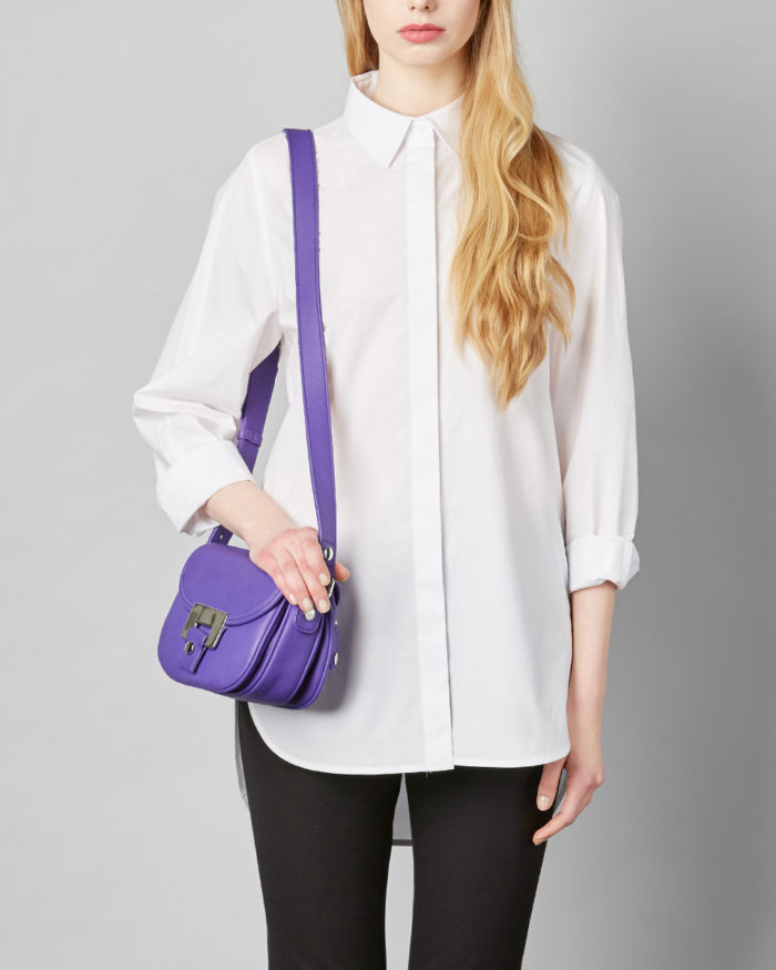 LUMI Olivia Mini Saddler, in bright bold violet, is a great everyday accessory.