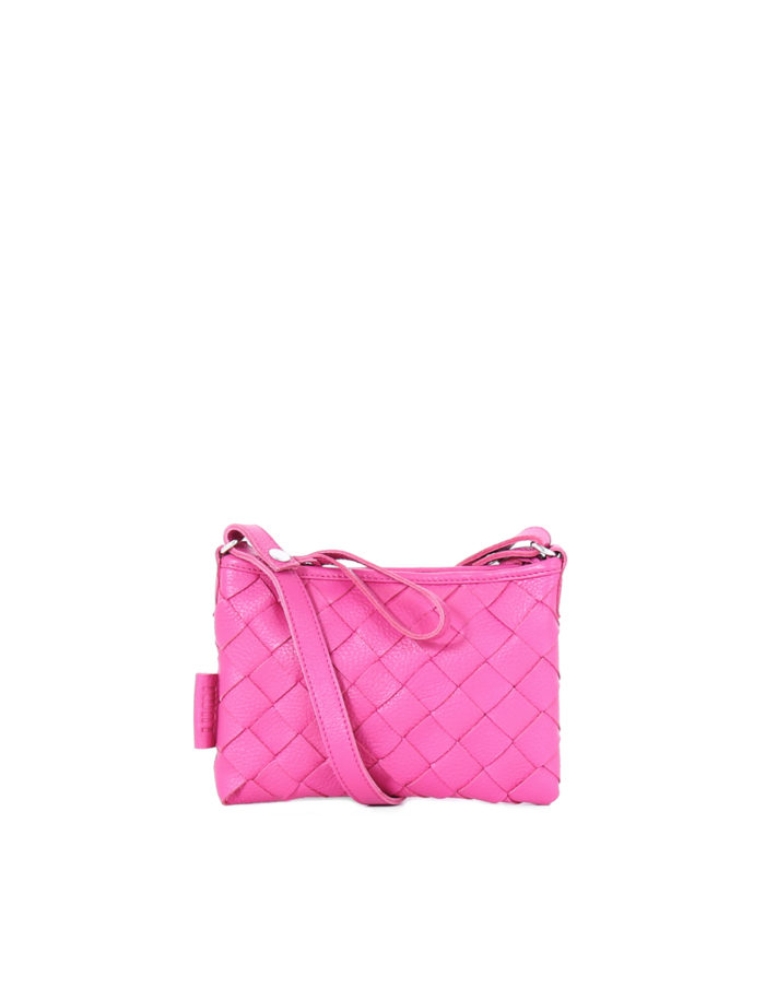 LUMI Toarie Woven Clutch Small in bright raspberry. This petite clutch with woven textured details is a perfect day bag that fits your small daily essentials.