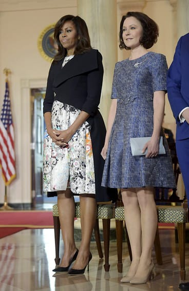 Jenni Haukio with Michelle Obama